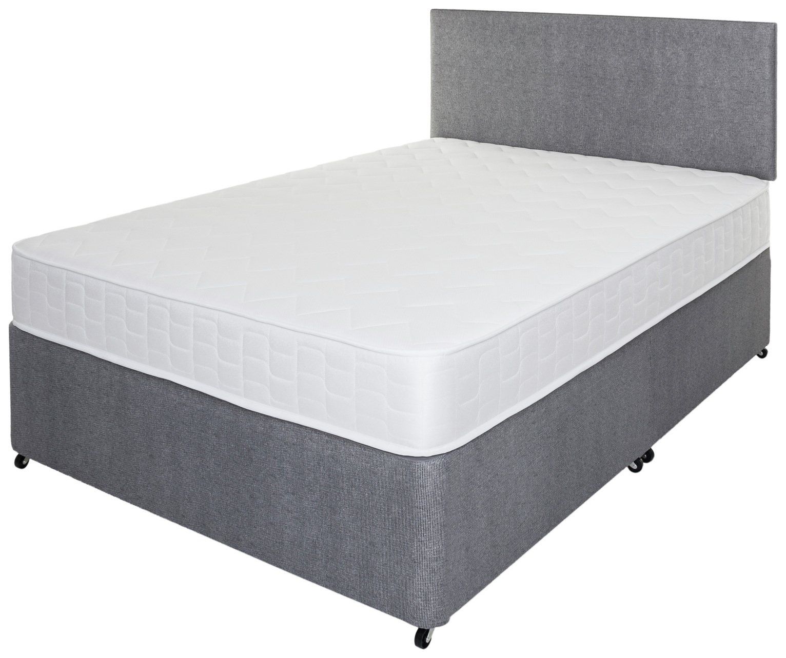 Airsprung elmdon memory small double divan grey fanzfirst for Small double divan bed sale