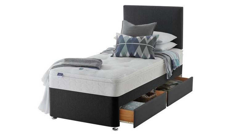 Silentnight Travis Ortho Single 2 Drawer Divan Bed -Charcoal