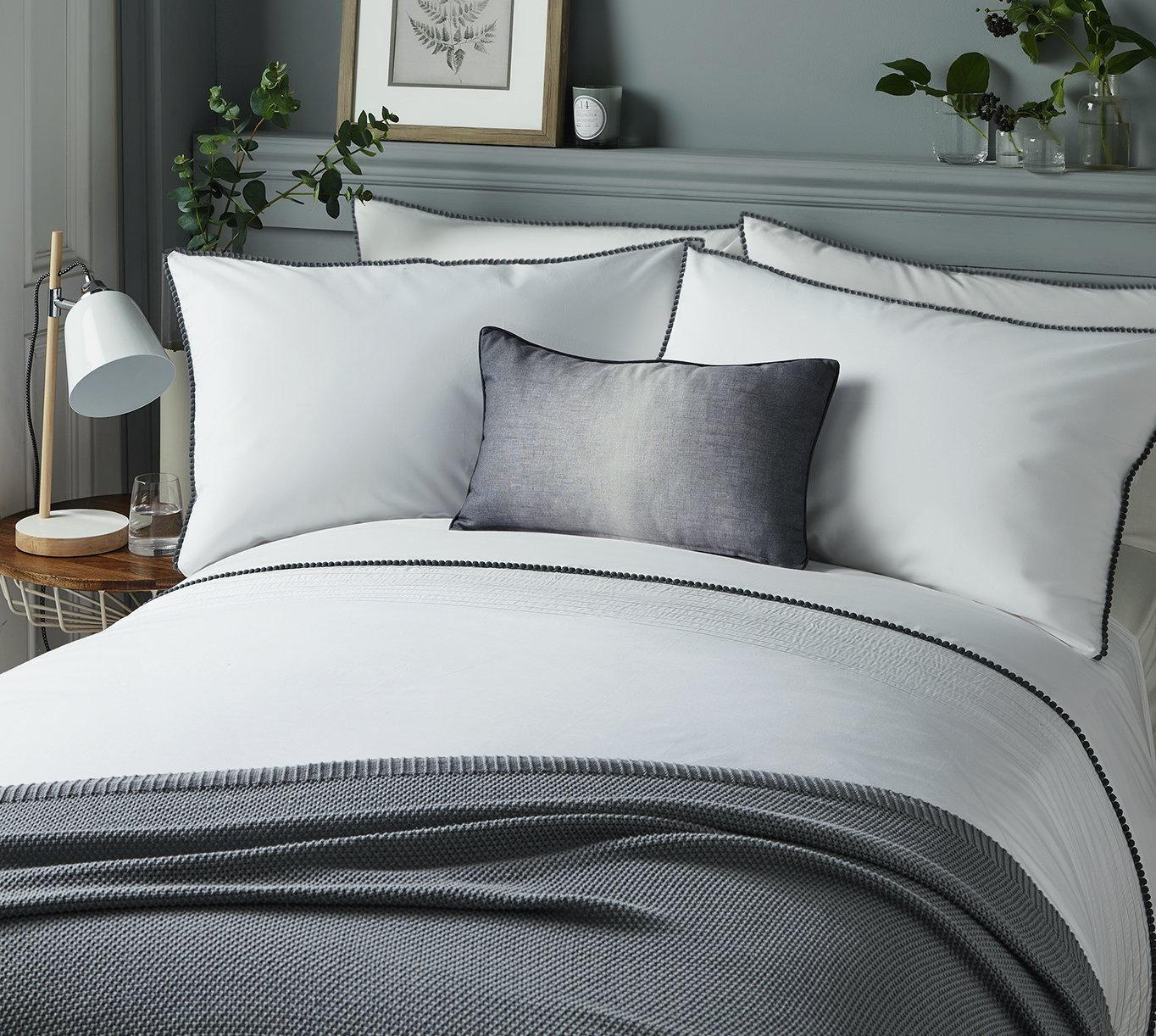 Serene Pom Pom Grey Bedding Set - Superking