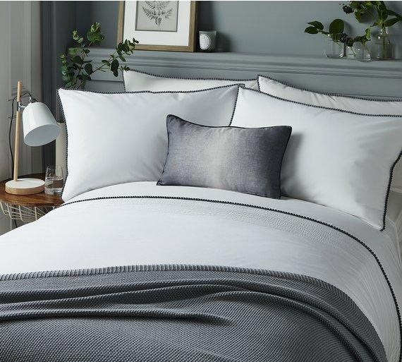 Buy Serene Pom Pom Grey Bedding Set Superking Duvet Cover Sets