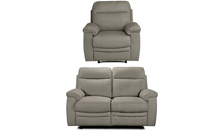 Argos Home Paolo Chair & 2 Seater Manual Recliner Sofa -Grey