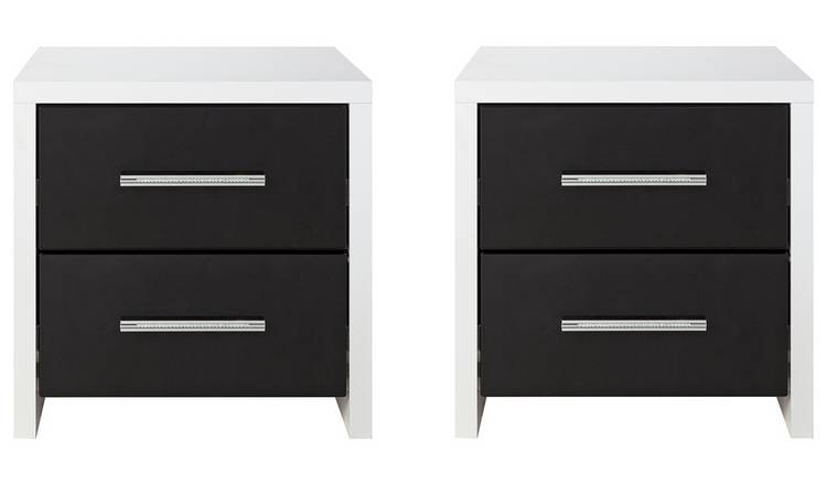 the best attitude 14cf2 96278 Buy Argos Home Broadway Gloss 2 Bedside Tables Set -Black/ White | Bedside  tables | Argos