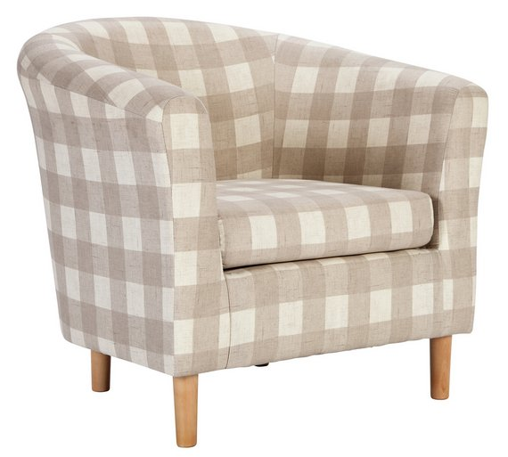 buy argos home molly fabric tub chair natural check armchairs