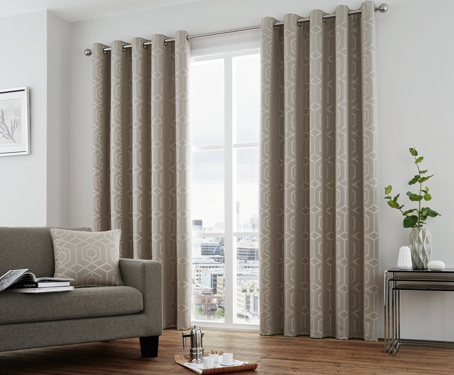Image of Curtina Camberwell Eyelet Curtains - 168x183cm - Stone