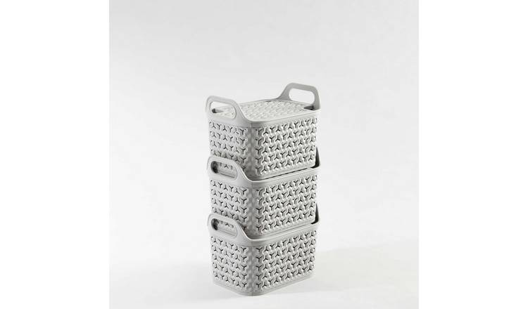 Strata Pack of 3 8L Urban Baskets with Lid - Light Grey