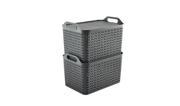 Strata Pack of 2 21L Urban Basket with Lid - Slate