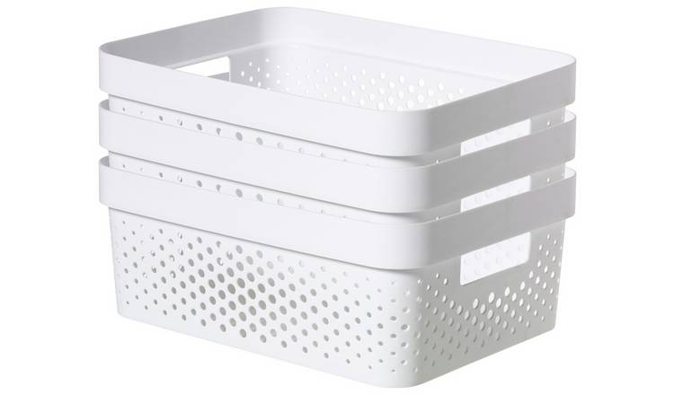 Curver Infinity Dots Set of 3 11 Litre Storage Boxes - White