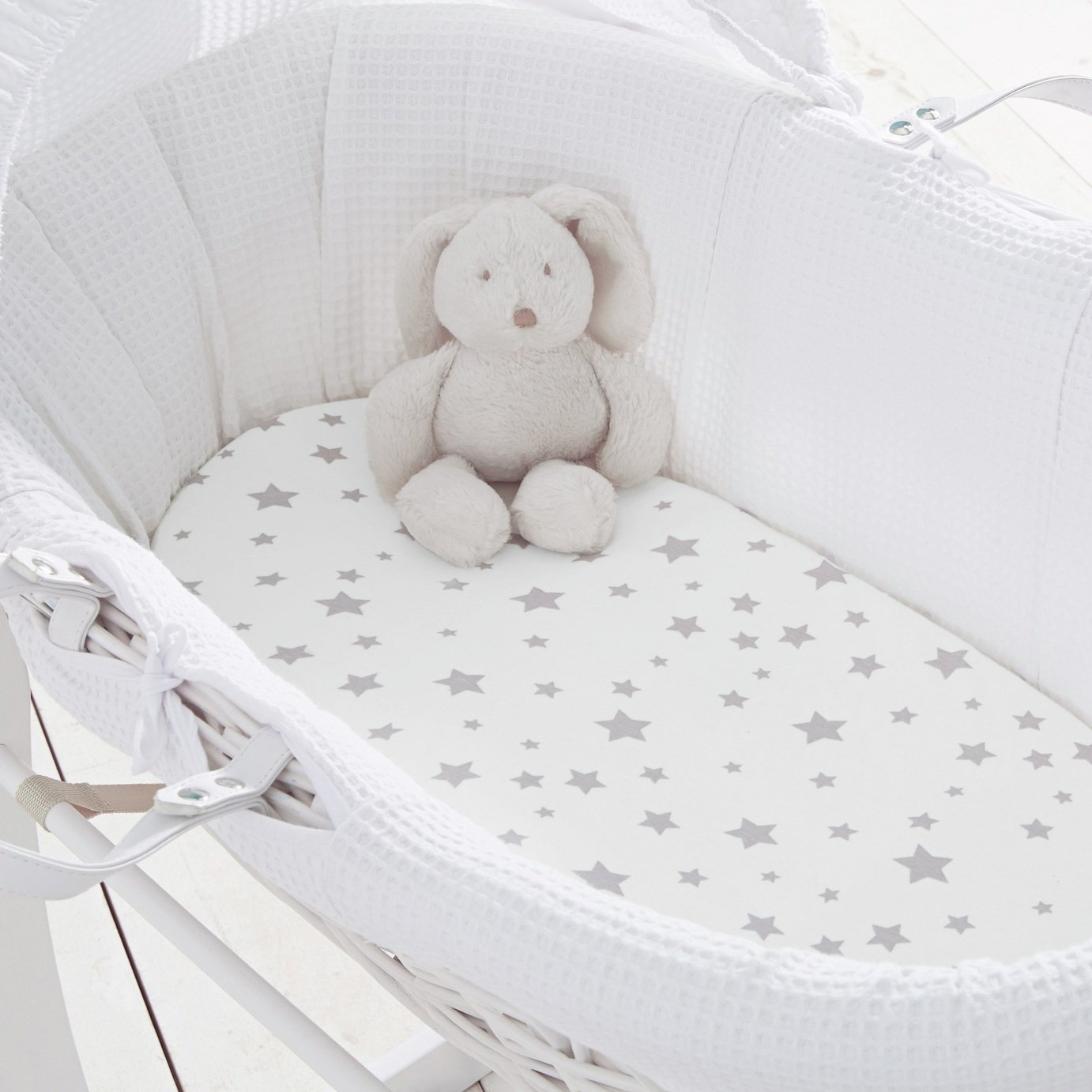 Silentnight Stars 2 Pack Fitted Moses Basket Sheet - Grey