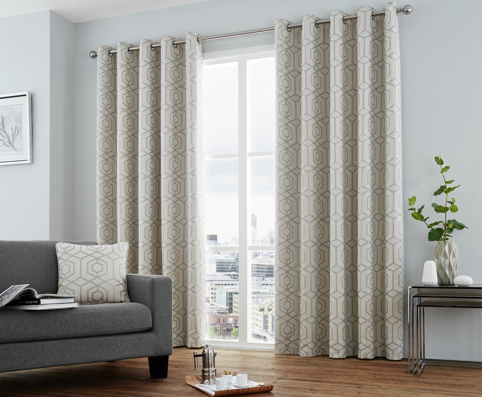 Image of Curtina Camberwell Eyelet Curtains - 168x183cm - Silver