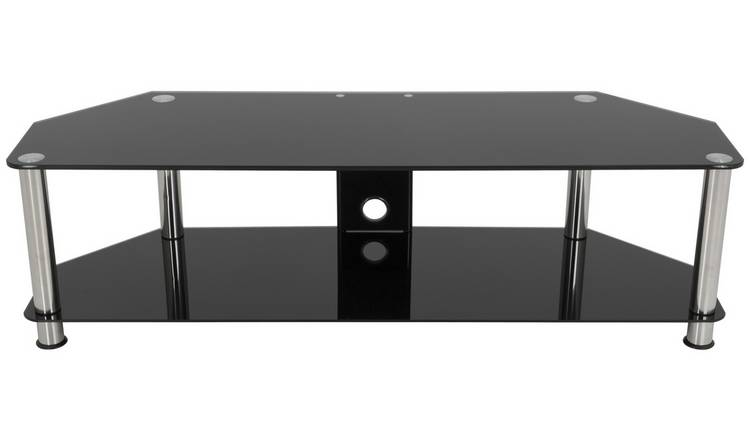 AVF Classic Up to 65 Inch Glass TV Stand - Black and Chrome