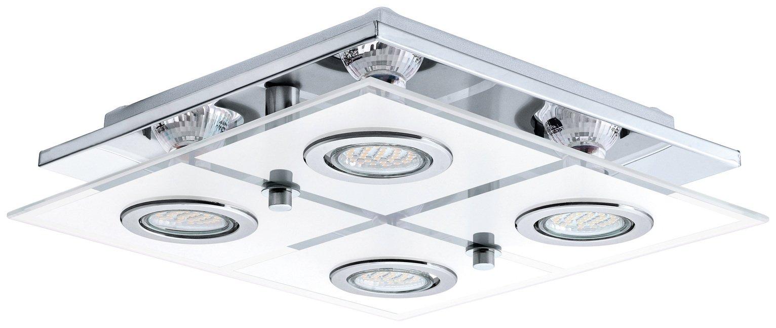 Eglo Cabo Small 4 Light Glass Shade Ceiling Light - Chrome