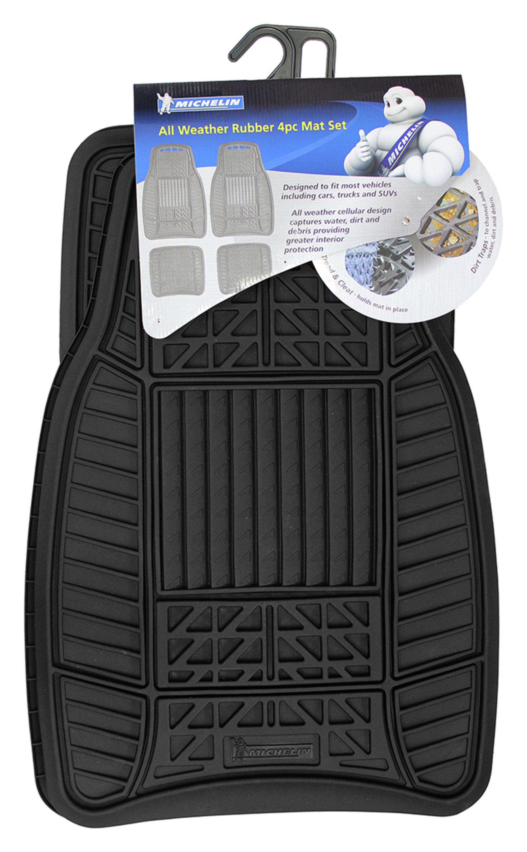 Image of Michelin Set of 4 Heavy Duty Rubber Car Mats - Black