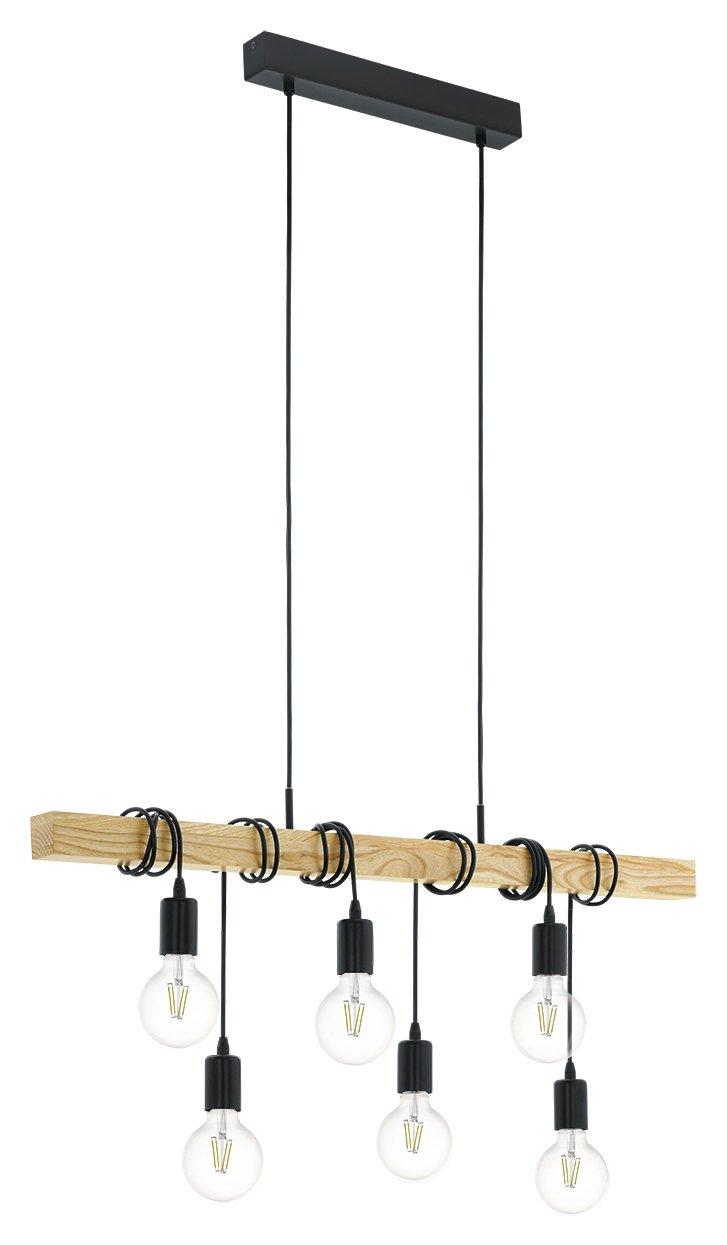 Image of Eglo Townshend 6 Light Wooden Bar Pendant