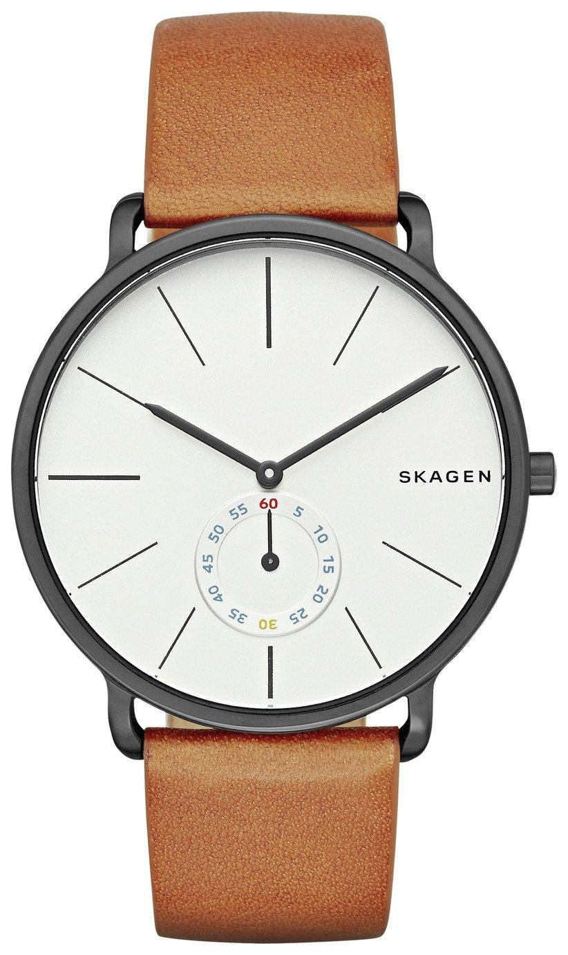 Skagen Hagen Men's Brown Leather Strap Watch