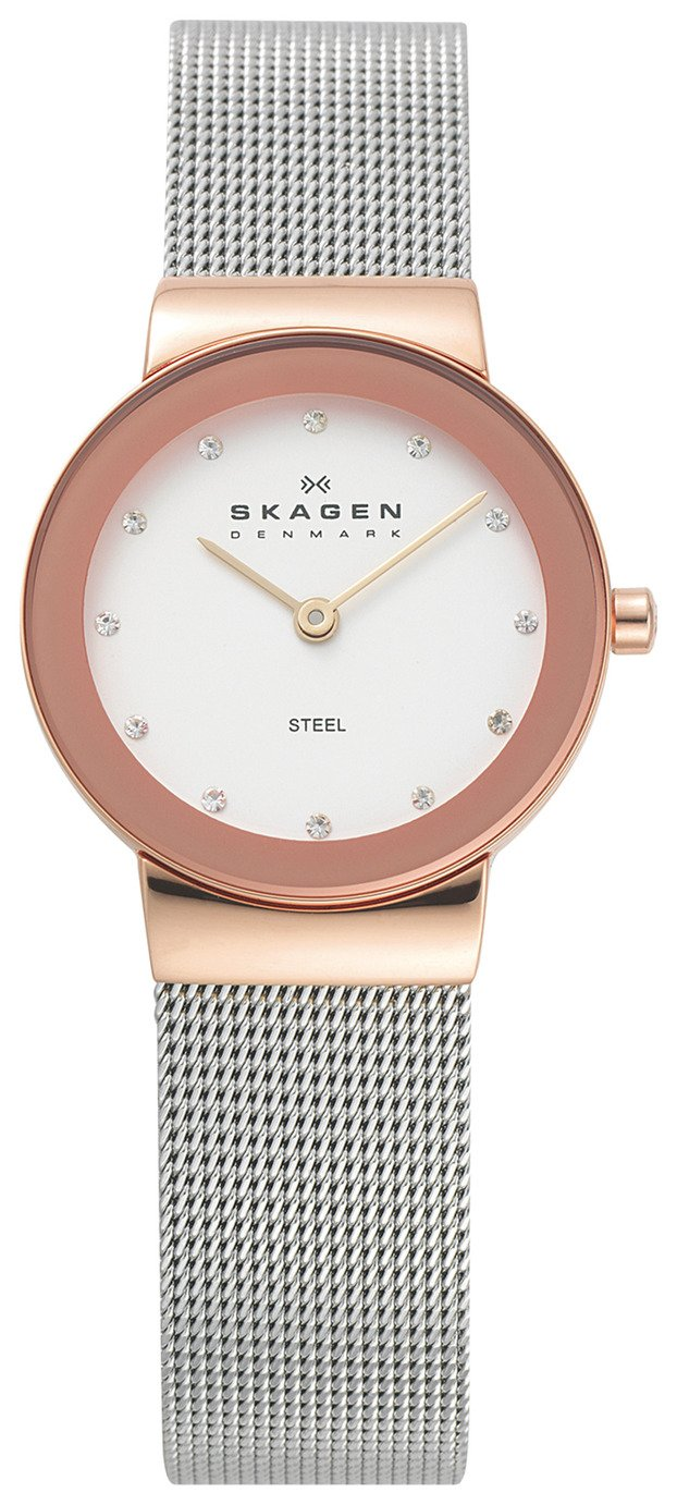 Skagen Ladies' 358SRSC Freja Rose Gold Coloured Strap Watch