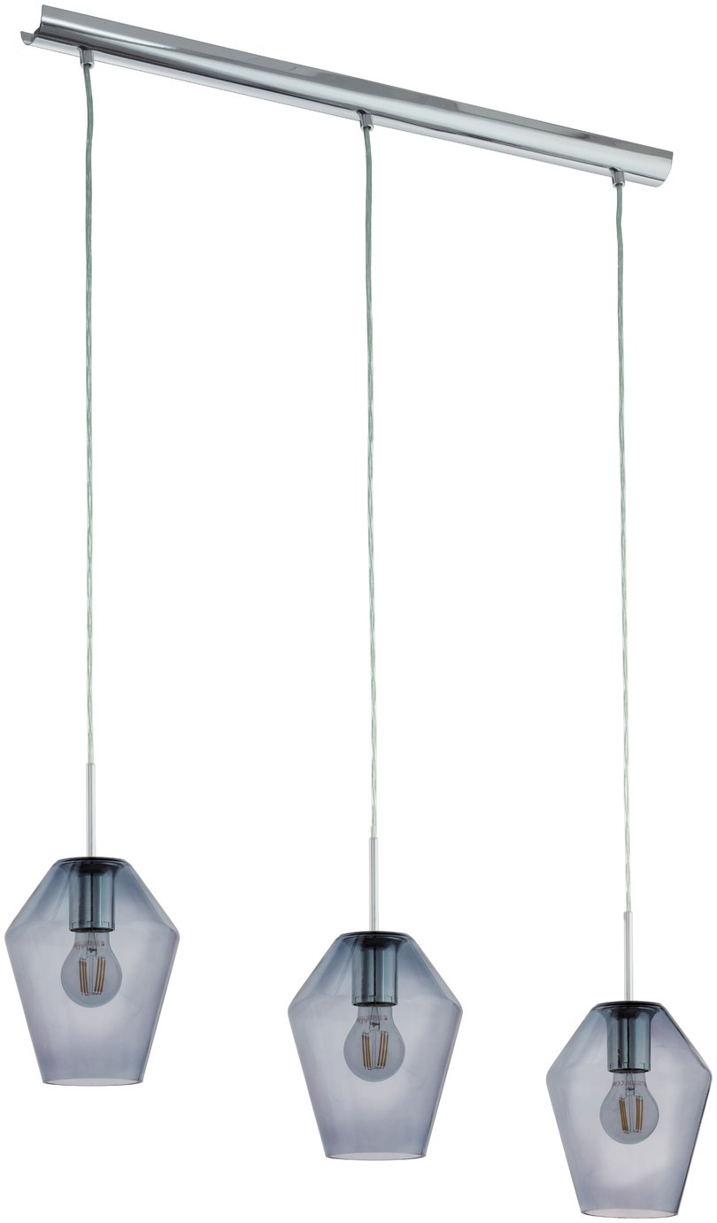 Eglo Murmillo 3 Light Smoked Glass Pendant Light - Chrome