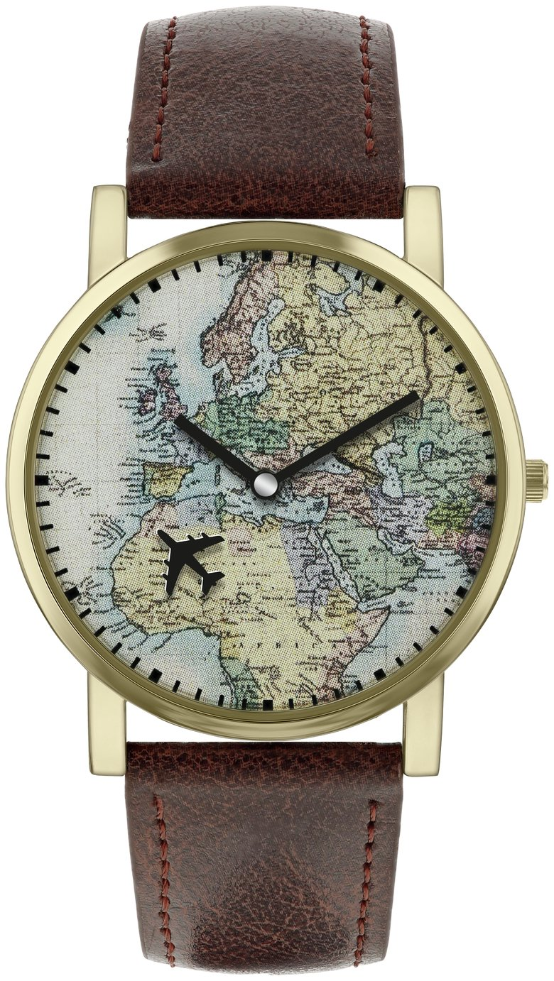 Spirit Men's Brown Faux Leather Strap World Map Watch