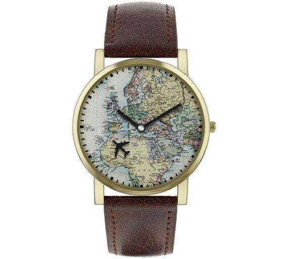 Buy Spirit Men\'s Brown Faux Leather Strap World Map Watch   Men\'s ...