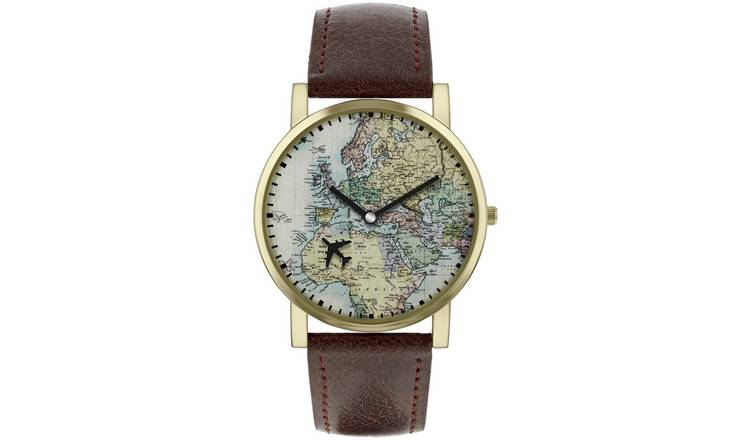 Buy Spirit Men\'s Brown Faux Leather Strap World Map Watch | Men\'s watches |  Argos