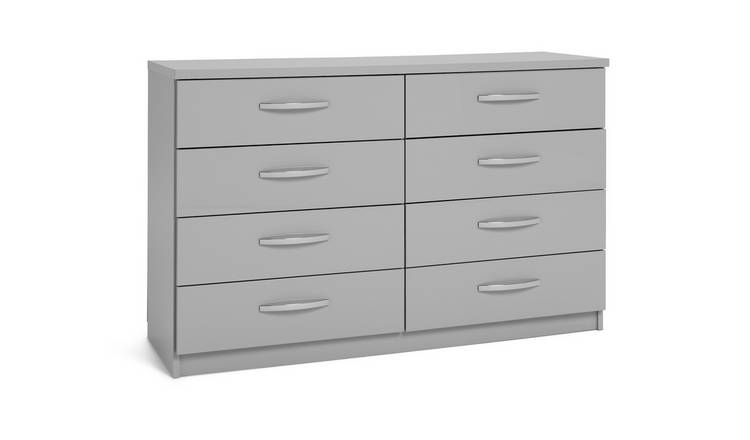 Argos Home Hallingford 4+4 Drawer Chest - Grey Gloss