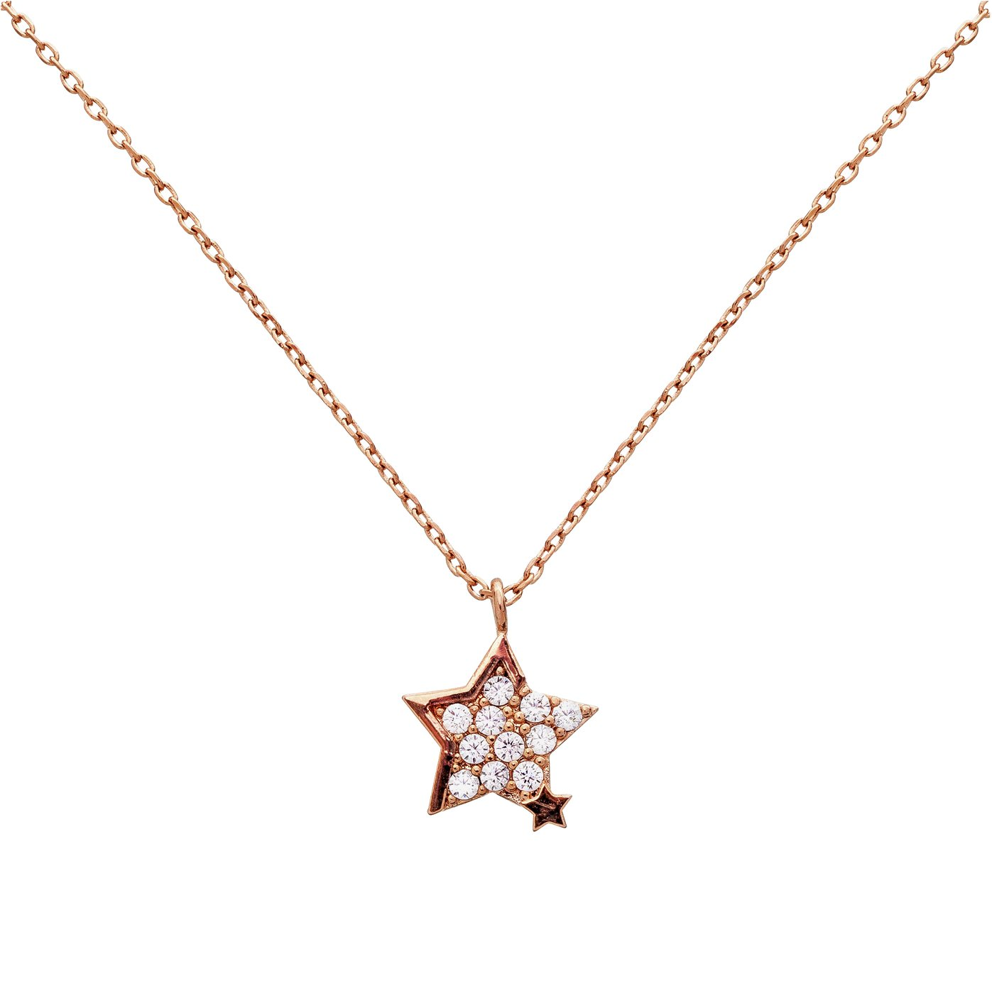 Ameilia Grace Rose Gold Colour Cubic Zirconia Star Necklace