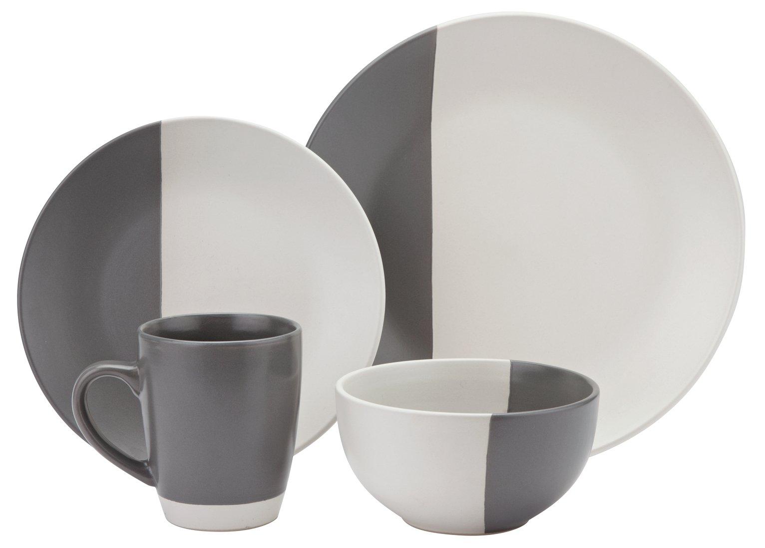 Argos Home 16 Piece Stoneware Dip Dinner Set - Grey