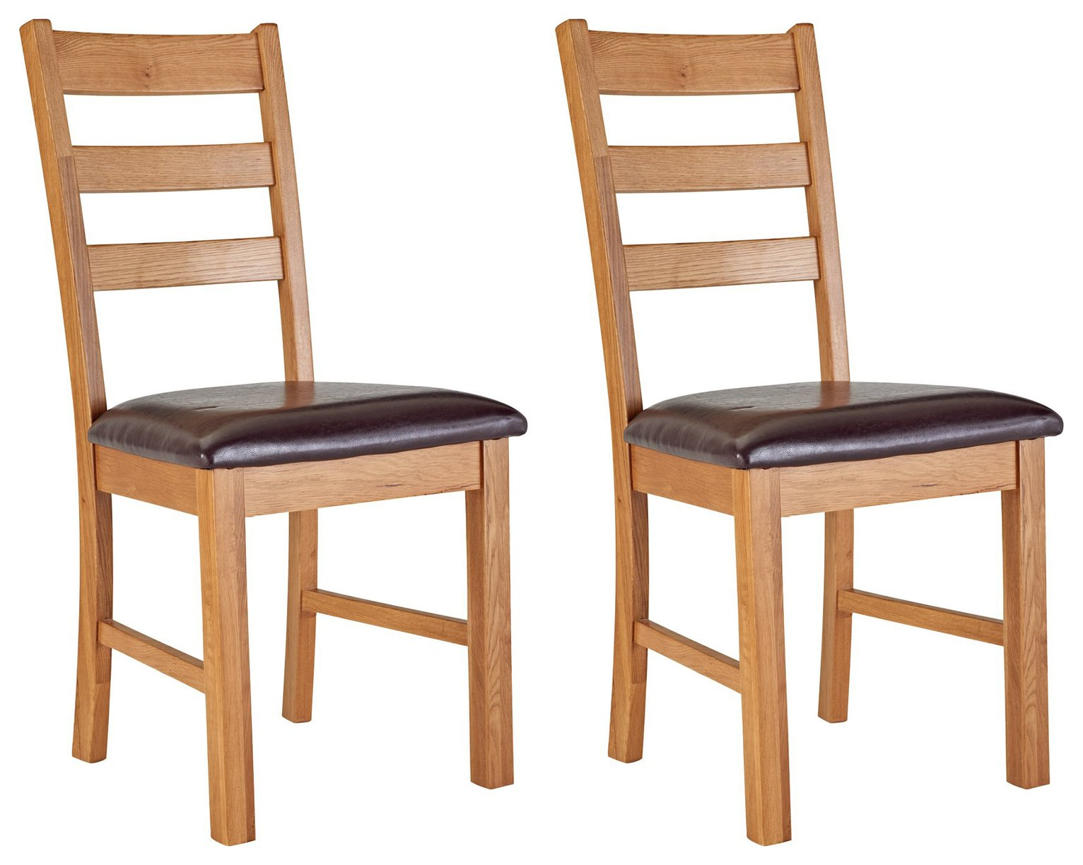 Image of Collection Farmhouse Pair of Solid Oak Dining Chairs