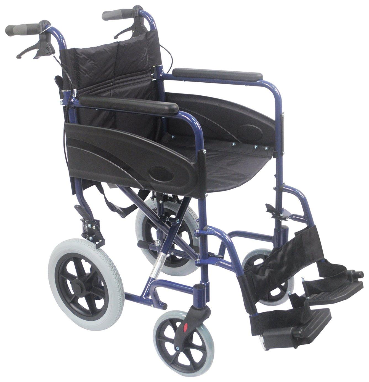 Aidapt Deluxe Transport Aluminium Wheelchair - Blue