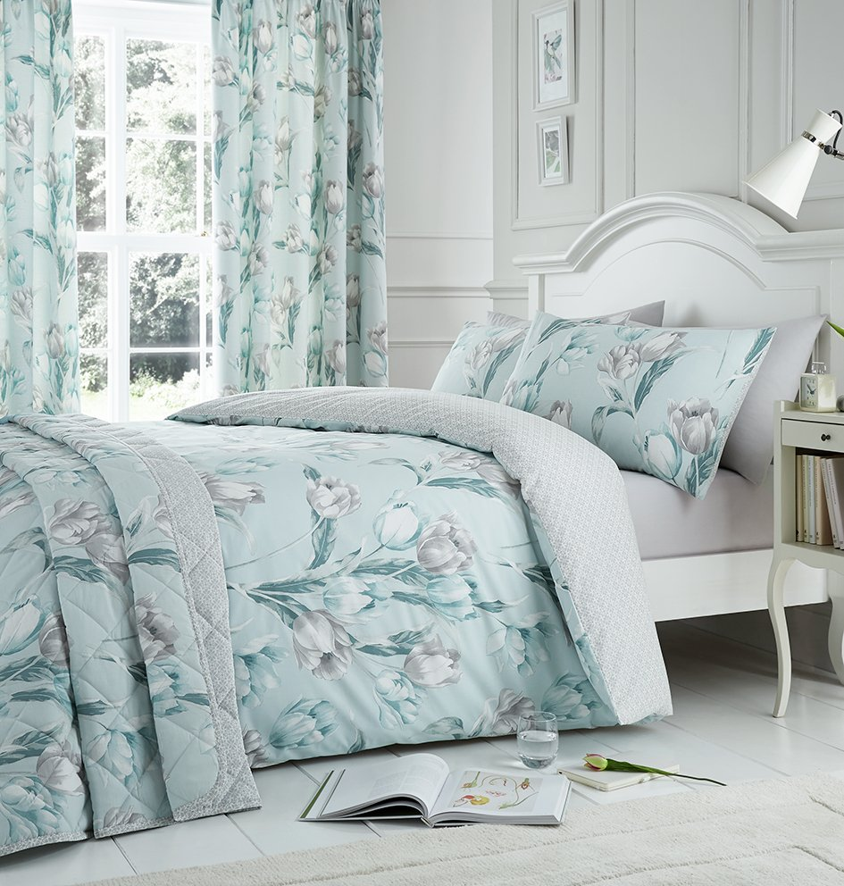 Dreams N Drapes Tulip Duck Egg Bedding Set - Double