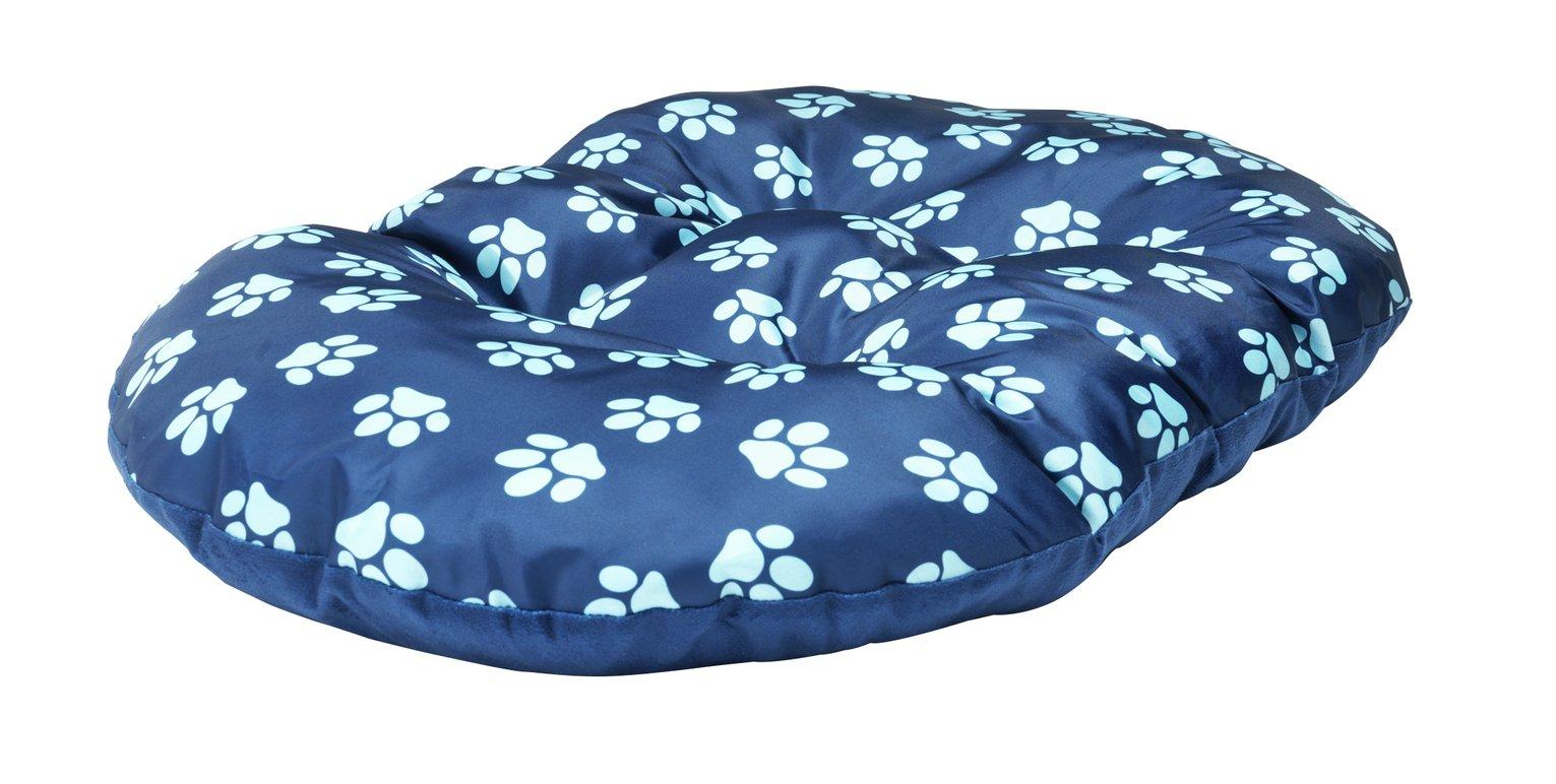 Paw Print Fleece Oval Navy Cushion - Extra Large