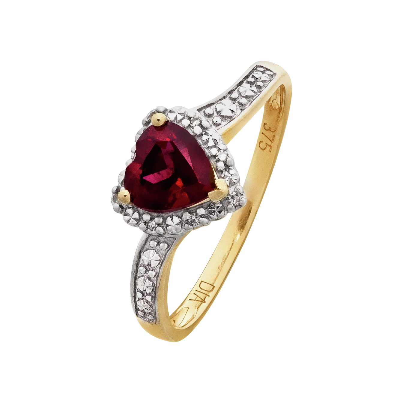 Revere 9ct Yellow Gold Ruby and Diamond Accent Heart Ring