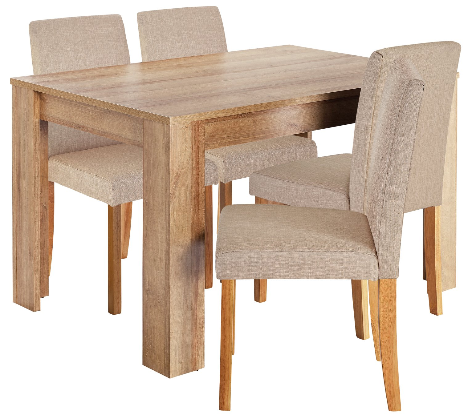 Image of HOME Miami Dining Table & 4 Chairs - Oatmeal