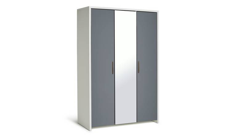 Habitat Broadway 3Dr Mirror Wardrobe - Grey Gloss & White