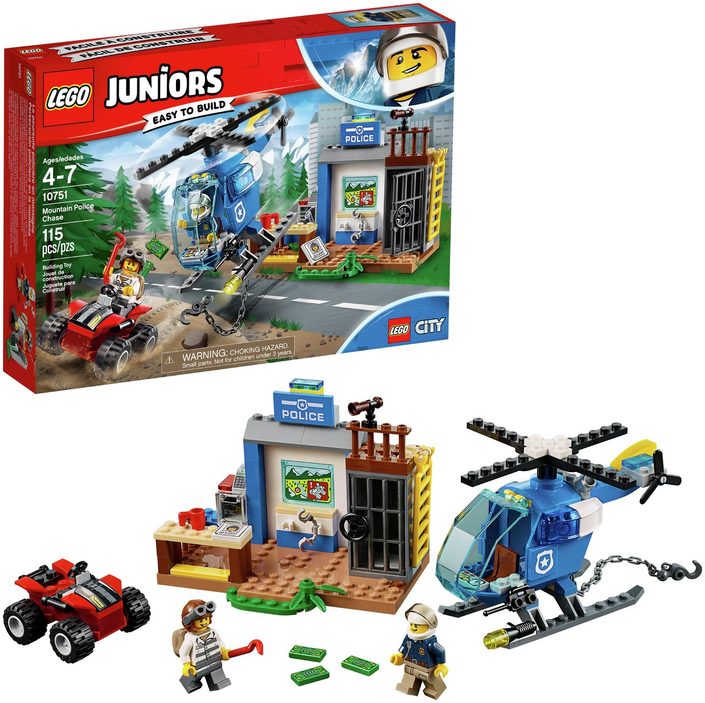 LEGO Juniors Mountain Police Chase Helicopter Toy - 10751