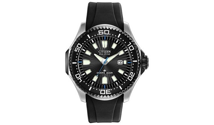 Citizen Eco-Drive Men's Rotating Bezel Black Silicone Watch