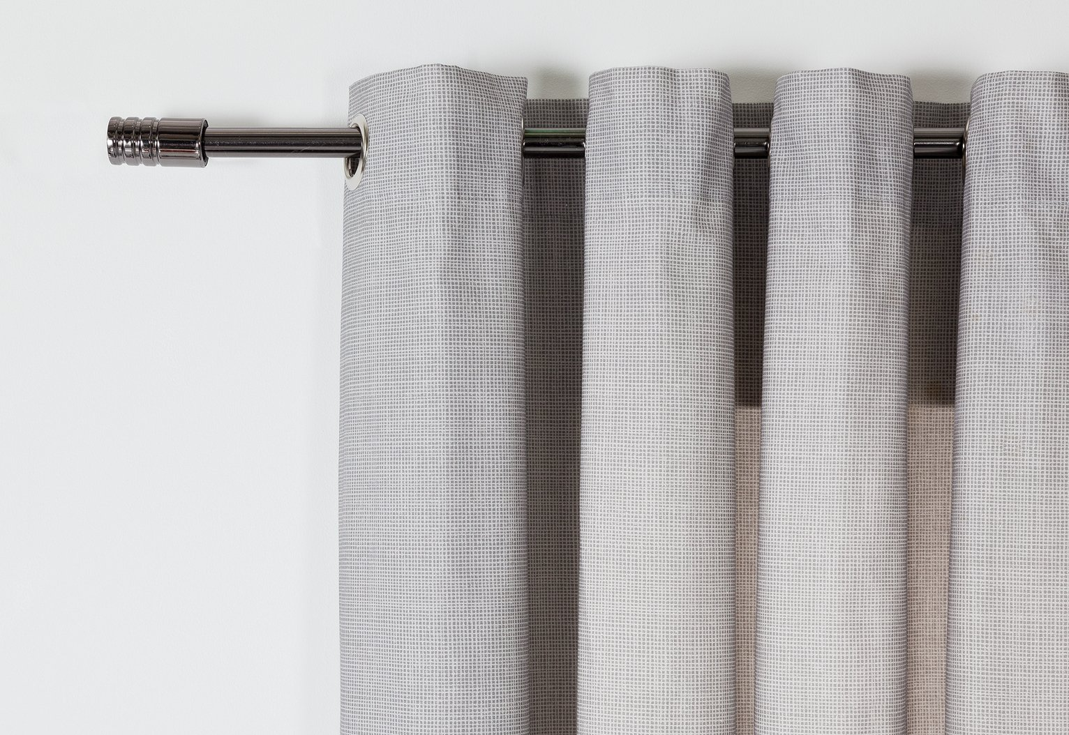 'Home Grid Unlined Eyelet Curtains - 117x137cm - Dove Grey