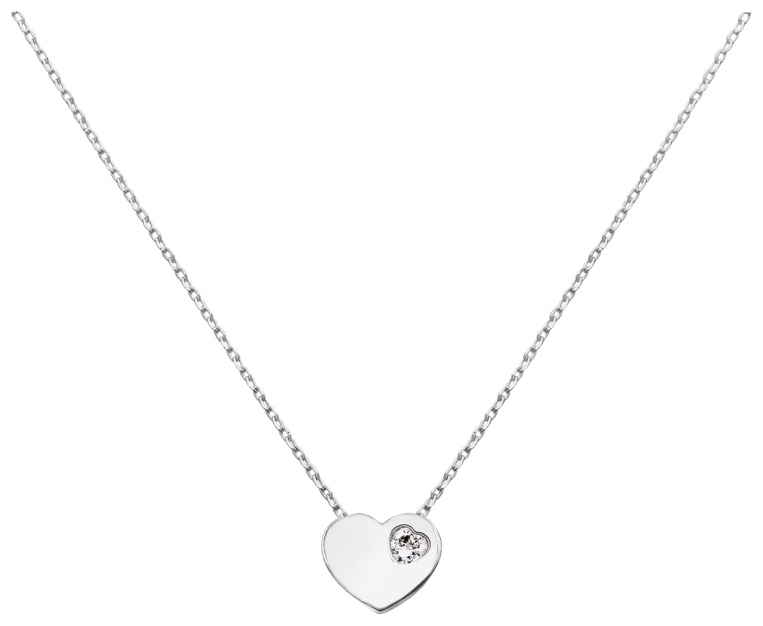 Amelia Grace Silver Colour Heart Pendant 18 Inch Necklace
