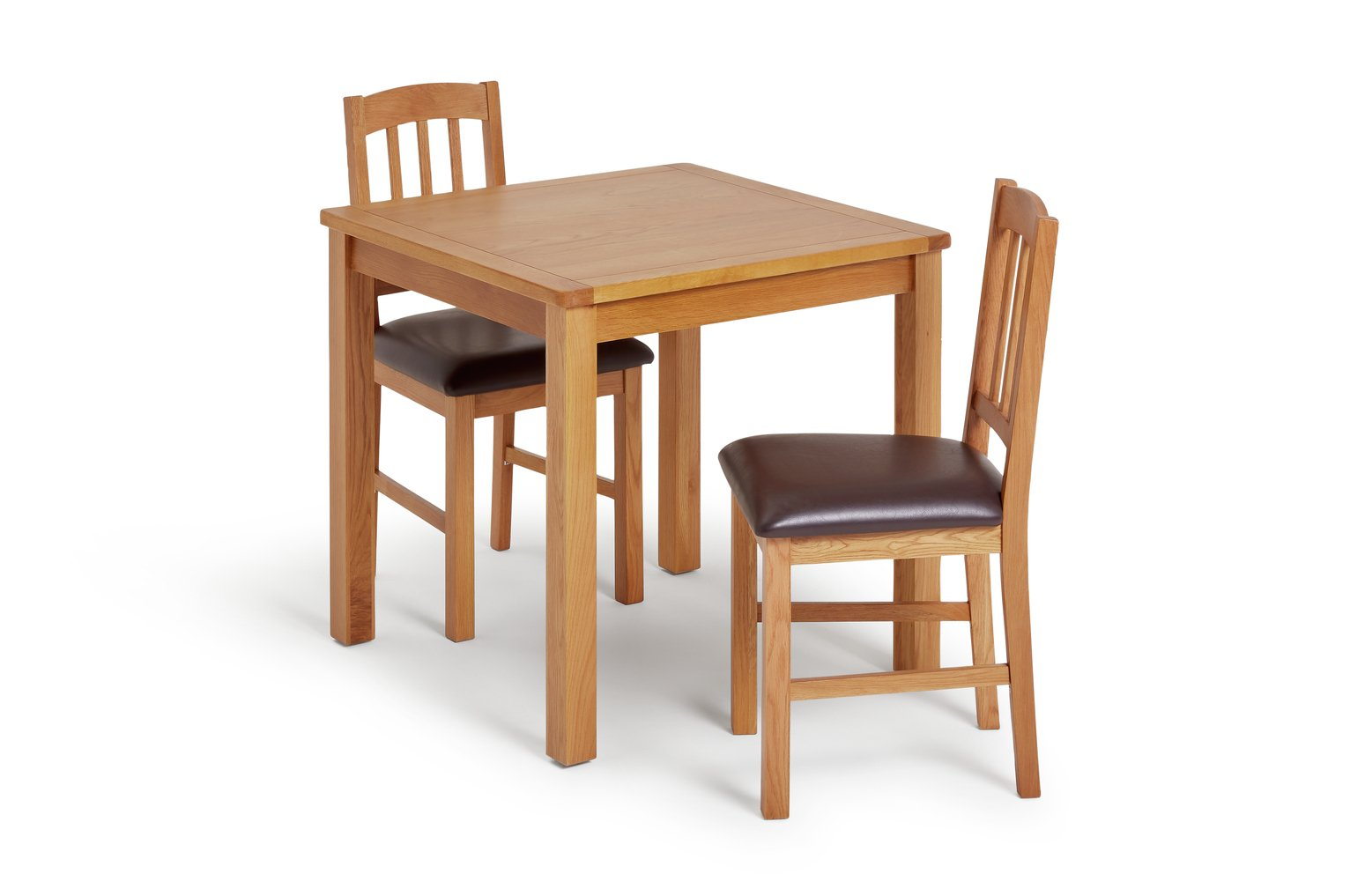 Image of Collection Ashwell Oak Veneer Dining Table & 2 Chairs