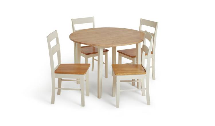 Habitat Chicago Solid Wood Round Table & 4 Two Tone Chair