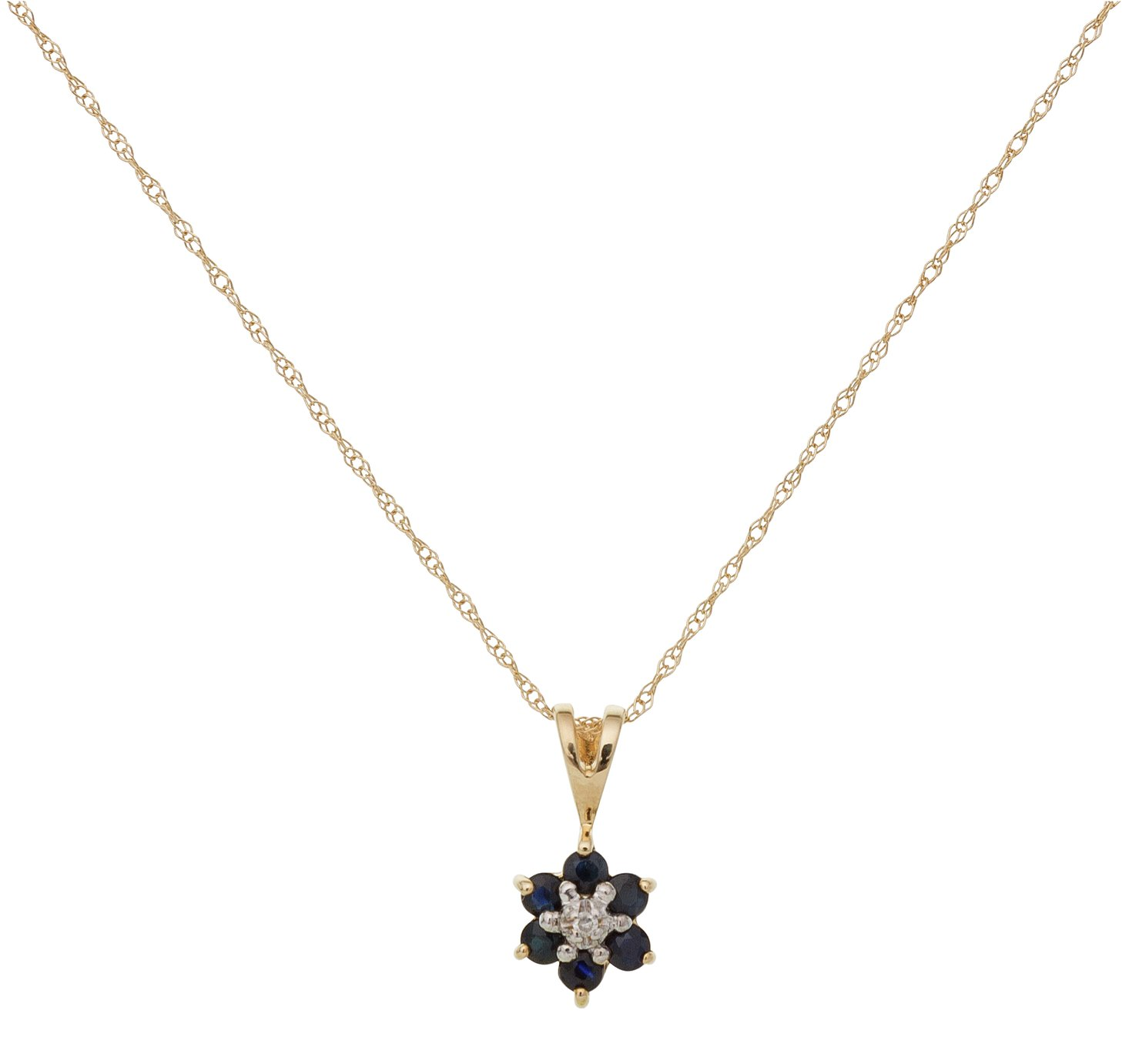 Revere 9ct Gold Diamond Flower Pendant 18 Inch Necklace