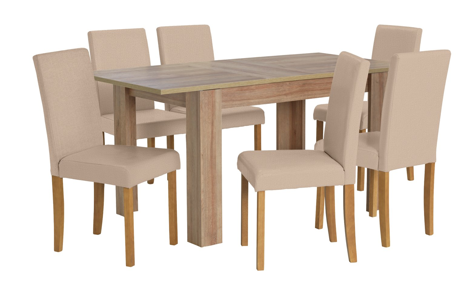 Image of HOME Miami Extendable Dining Table & 6 Chairs - Oatmeal