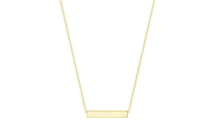 18ct Gold Plated Personalised Bar Pendant