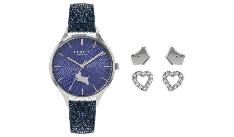 Radley Swarovski Leather Strap Watch and Earring Gift Set