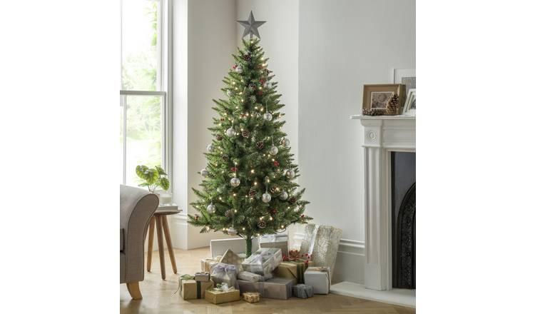 Buy Argos Home 6ft Berry & Cone Pre-Lit Christmas Tree ...