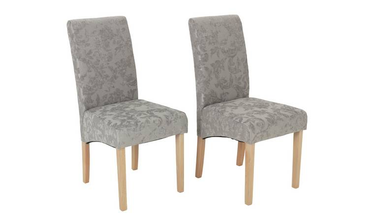 Argos Home Pair of Skirted Dining Chairs - Damask Grey & Oak