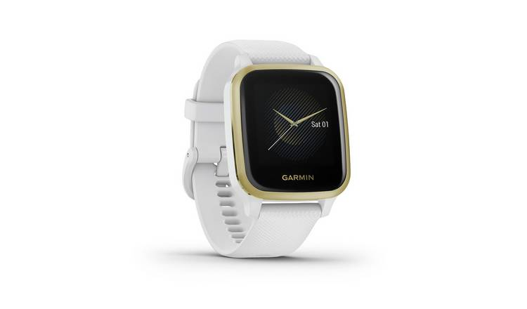 Garmin Venu Sq Smart Watch - White/Light Gold Bezel