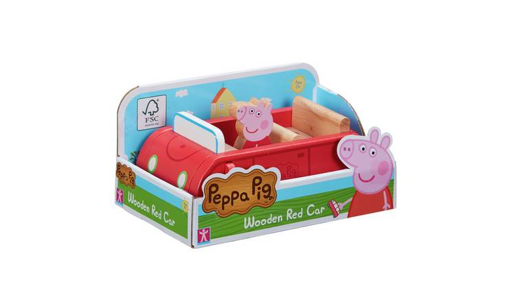 Peppa Pig Wood Play Family Car and Figure Playset