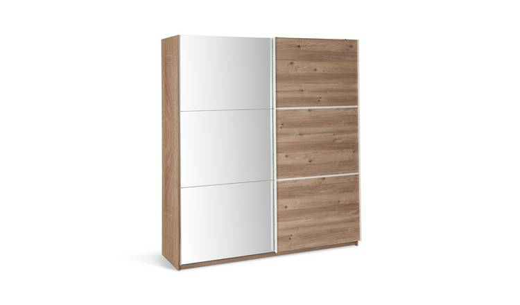 Habitat Holsted Large Sliding Wardrobe -White/ Oak Effect