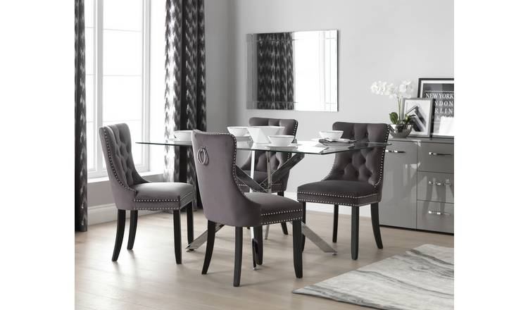 Buy Argos Home Blake Dining Table 4 Princess Chairs Charcoal Dining Table And Chair Sets Argos