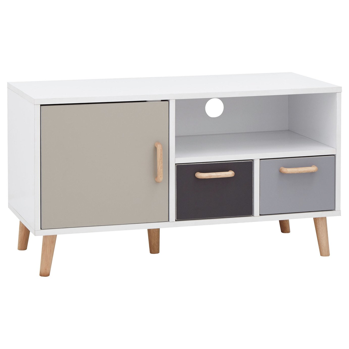 Delta 1 Door 2 Drawer Small TV Unit - Grey & White